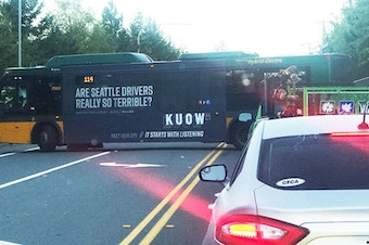 """Now this is what they call """"perfect ad placement."""" Bus ads around the Seattle are promoting our new podcast, #SoundQs."""