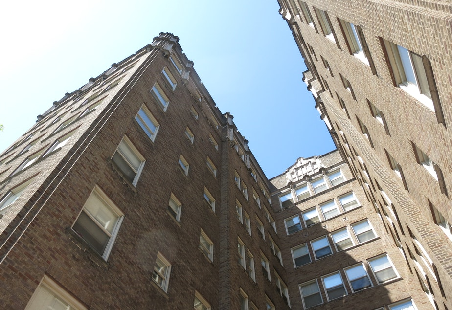 caption: Apartment buildings in the University District, Seattle.