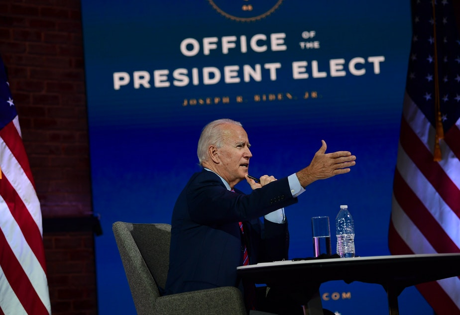 caption: President-elect Joe Biden speaks during a virtual meeting with the United States Conference of Mayors on Monday.