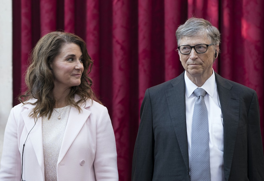 caption: Philanthropists Melinda Gates and Bill Gates prior to being awarded the Legion of Honour at the Elysee Palace in Paris last month.