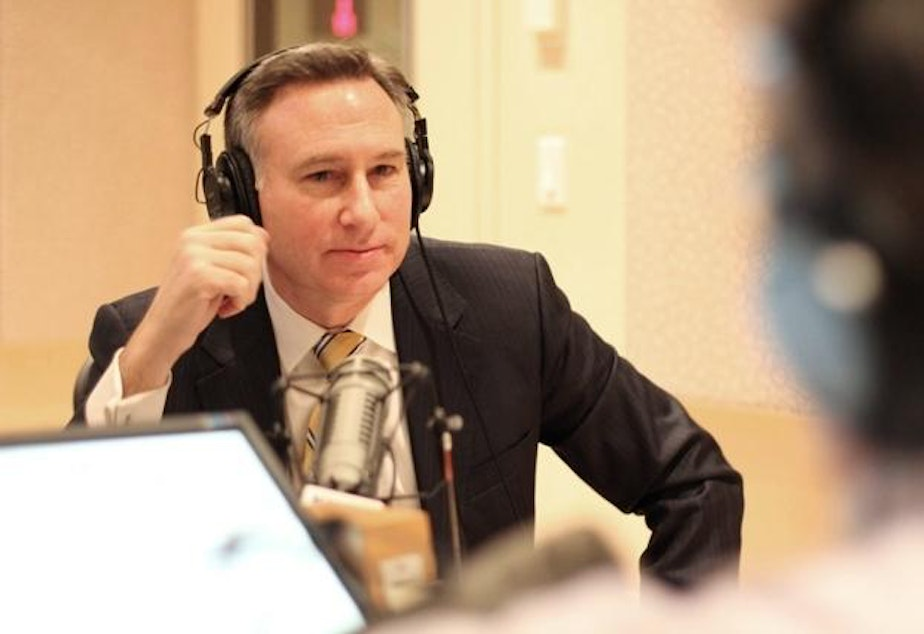 caption: King County Executive Dow Constantine