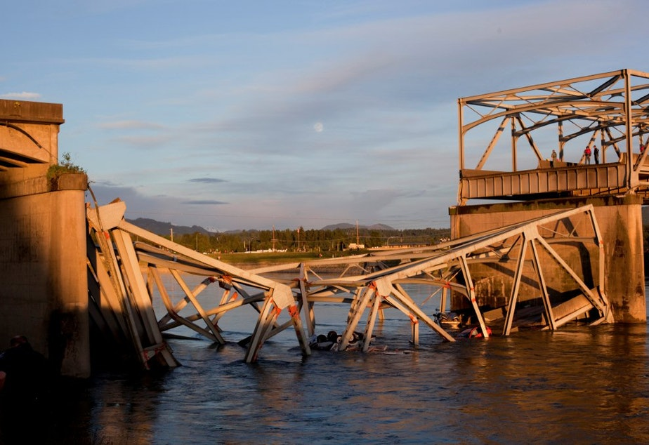 caption: It's been a year since the Skagit River bridge collapsed and little has been done to improve the infrastructure of faltering bridges elsewhere in the state.