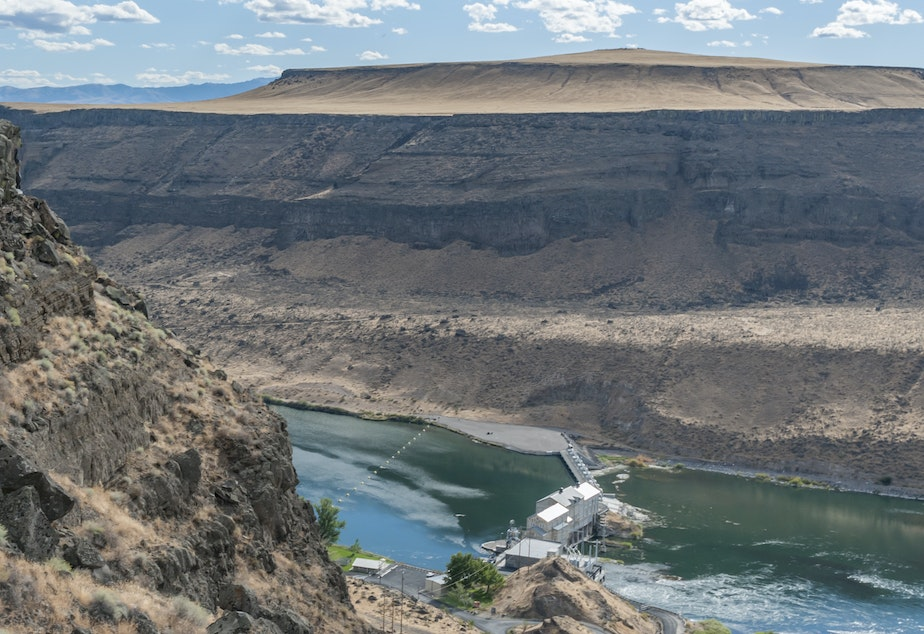caption: Idaho Power says it already gets nearly half its energy from hydroelectric dams such as the Swan Falls Dam on the Snake River, just south of Boise. The utility plans to phase out its use of coal power plants.