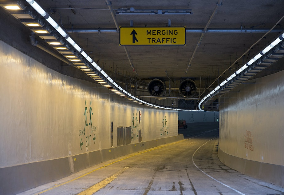 FILE: A portion of the north bound on-ramp is shown on Thursday, November 15, 2018, inside the State Route 99 tunnel in Seattle.