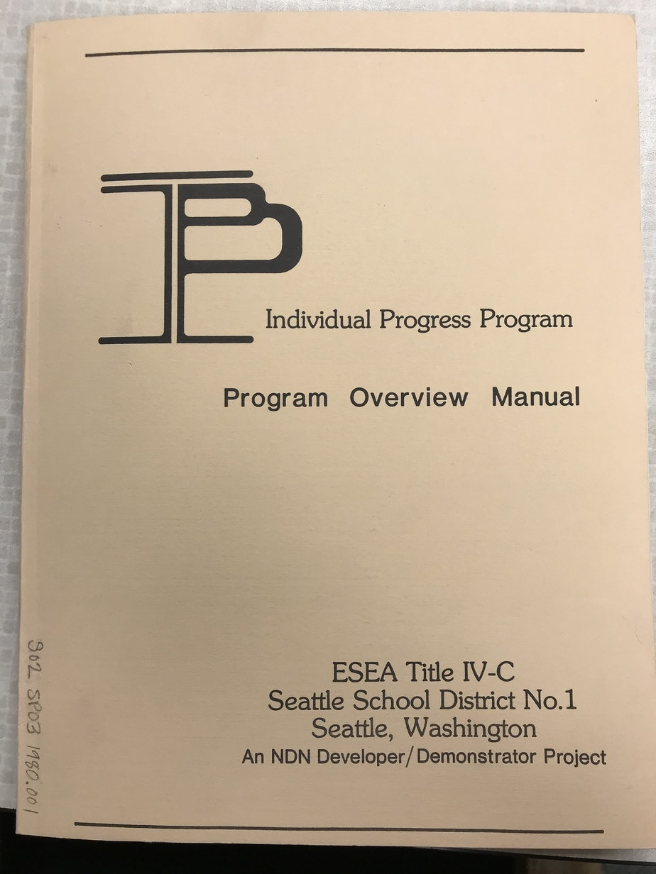 caption: A program manual for one of the first gifted programs in Seattle — the predecessor to the Highly Capable Cohort.