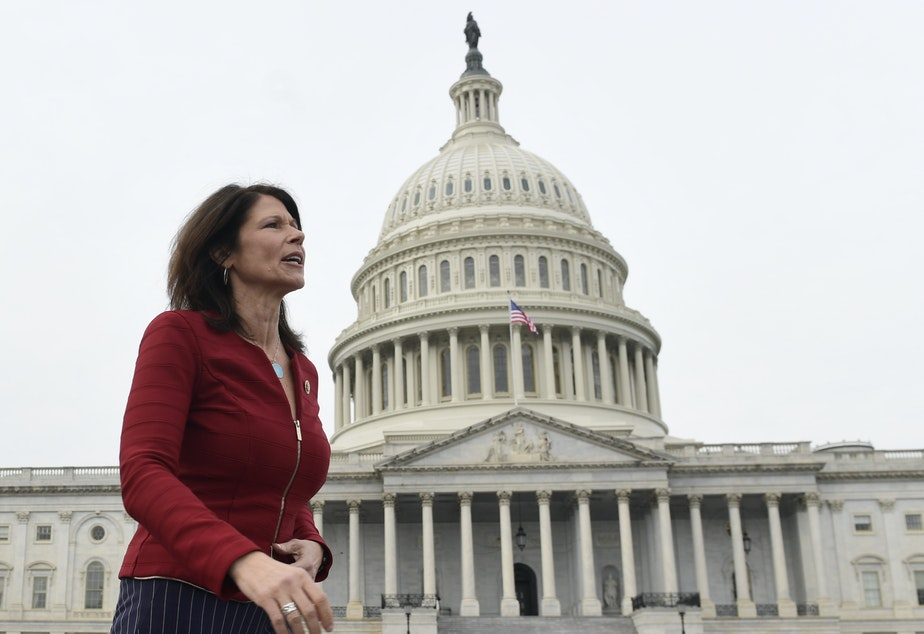 """caption: Illinois Rep. Cheri Bustos, who is running the House Democrats' 2020 campaign operation, tell NPR: """"There couldn't be a clearer differentiation between what we are fighting for and what they are fighting against."""""""