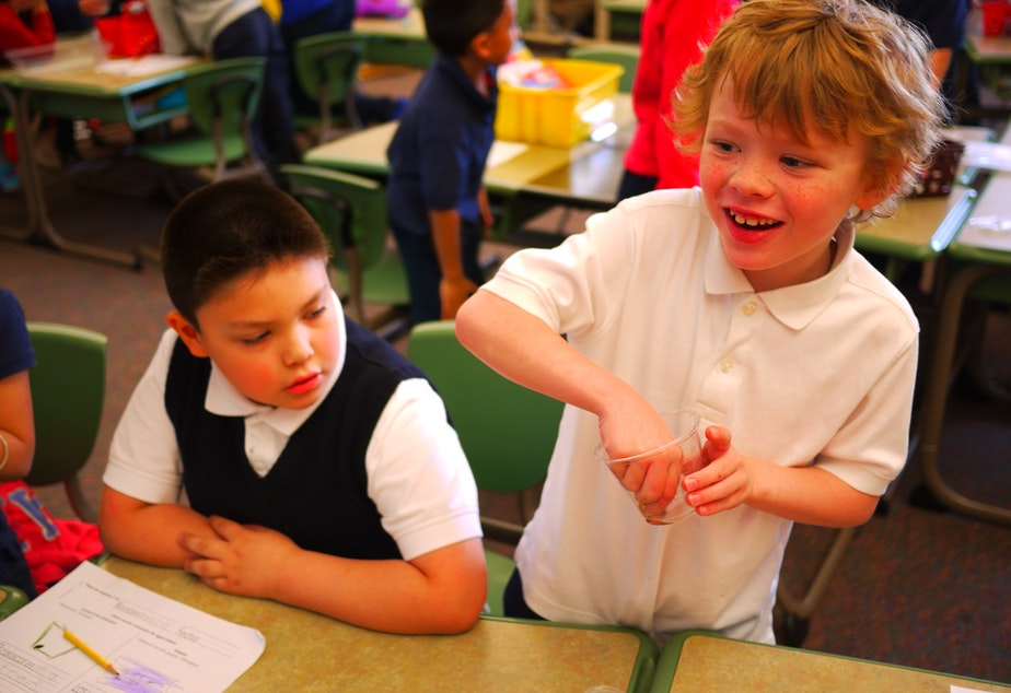 First-graders Daniel, left, and Josiah, are first-grade language buddies at White Center Heights Elementary in West Seattle. Their classroom instruction is in Spanish and English.
