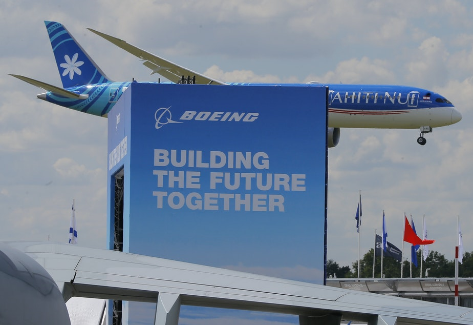 caption: Boeing 787-9 Dreamliner performs his demonstration flight at Paris Air Show, in Le Bourget, east of Paris, France, Monday, June 17, 2019. The world's aviation elite are gathering at the Paris Air Show with safety concerns on many minds after two crashes of the popular Boeing 737 Max.