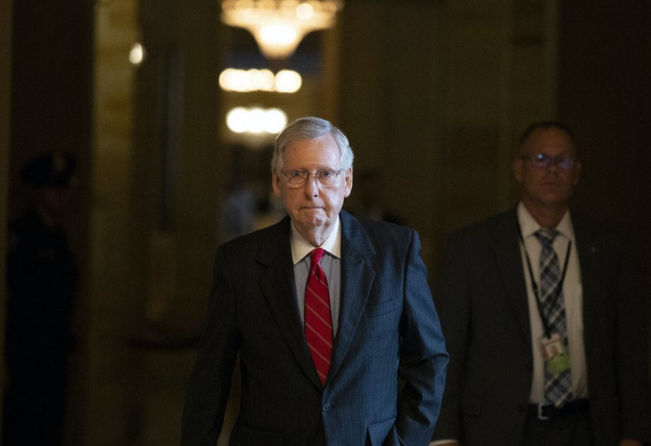 Senate Majority Leader Mitch McConnell of Ky., walks to the Senate floor for a vote, on Capitol Hill, Thursday, Oct. 11, 2018 in Washington.