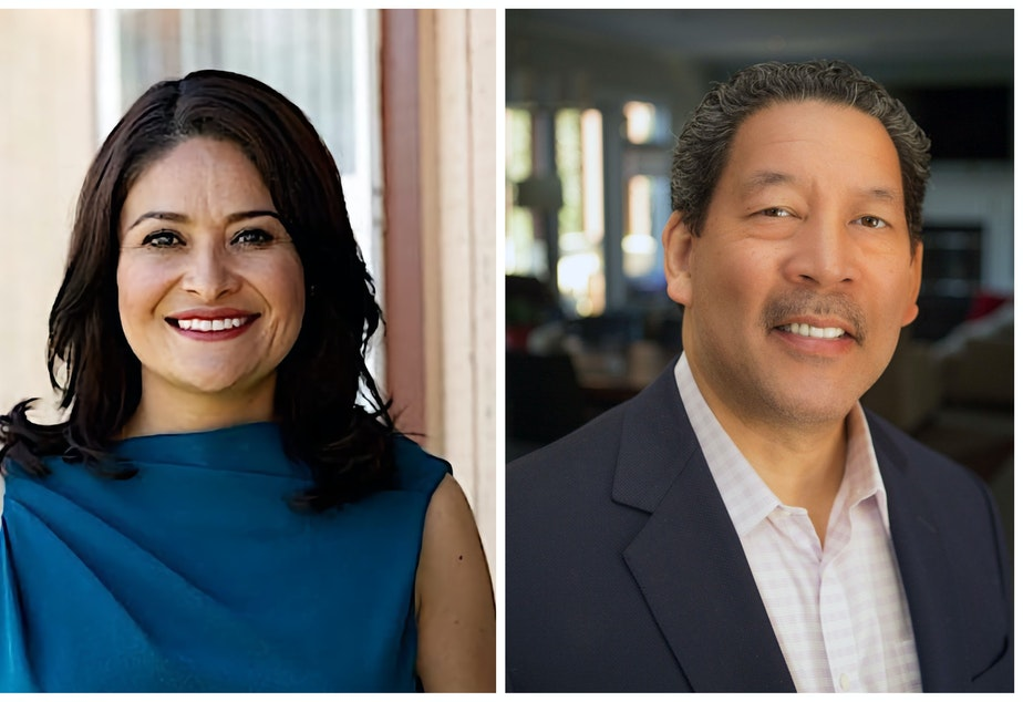 caption: Left to right: Seattle Mayor candidates Lorena González and Bruce Harrell
