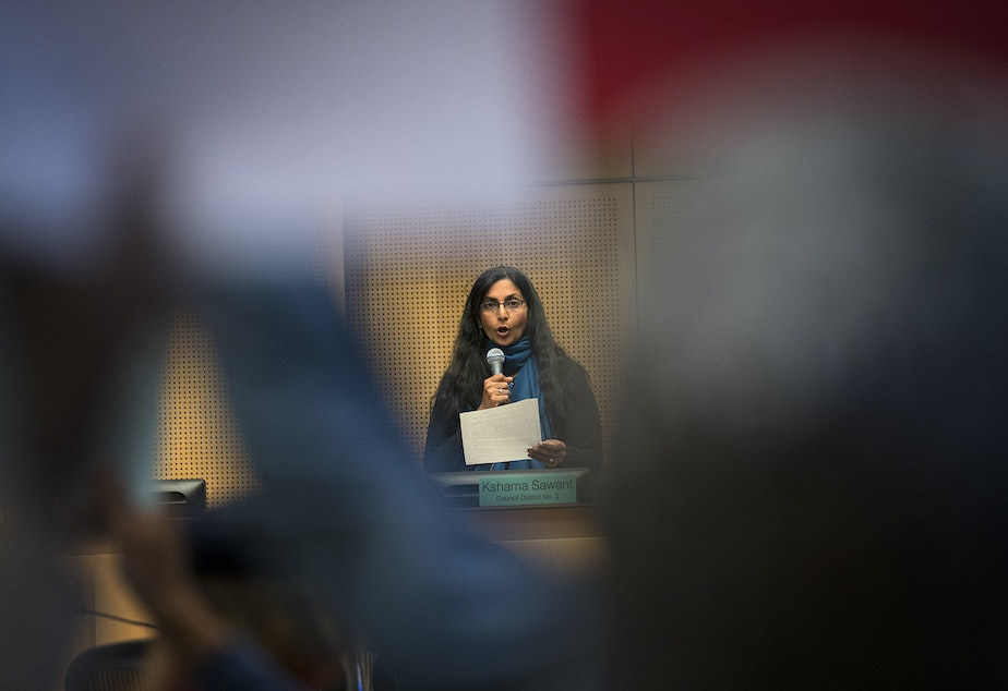caption: Councilmember Kshama Sawant on Monday, September 18, 2017, at City Hall in Seattle.