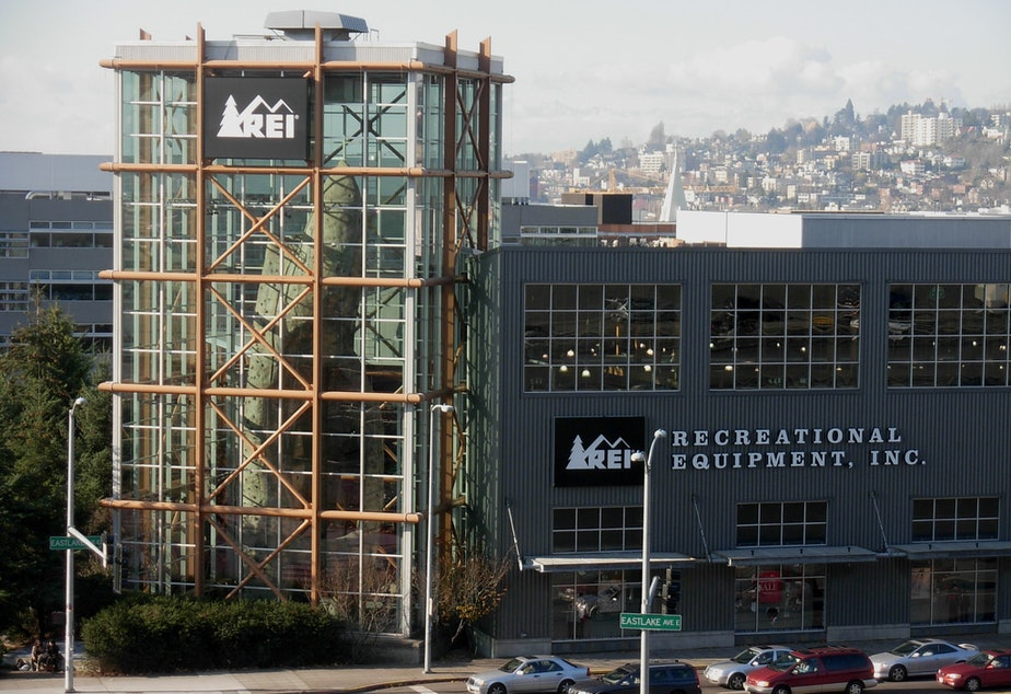 caption: REI's famous flagship store in downtown Seattle.