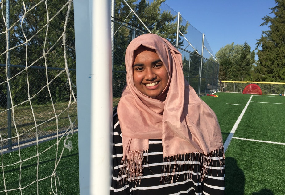 Noor Aamir, the founder of a soccer camp for Muslim girls.