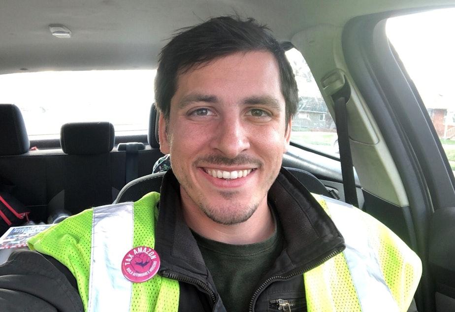 caption: Amazon cargo handler Matt Smith.