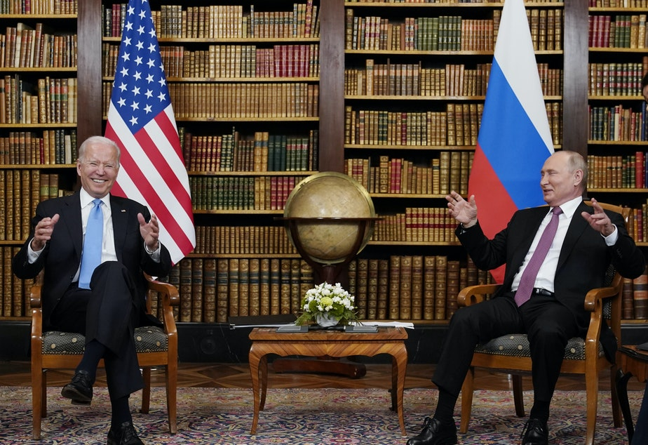 """caption: At their summit in Geneva on Wednesday, President Biden told Russian leader Vladimir Putin that the U.S. would strike back if it keeps getting hit with cyber attacks. """"Responsible countries need to take action against criminals who conduct ransomware activities on their territory,"""" Biden said."""