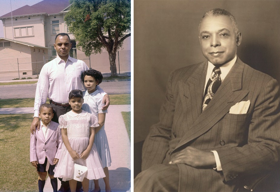caption: Left: Ivan Abbott Houston (bottom left), with his father Ivan J. Houston and sisters Pamela Houston-Chretien and Kathi Houston-Berryman in front of their house on West 24th St., across the street from 24th Street School, on Easter Sunday, in the late 1950s. Right: Entrepreneur Norman Houston, who bought property in 1938, was the first African American known to purchase a home in Sugar Hill.