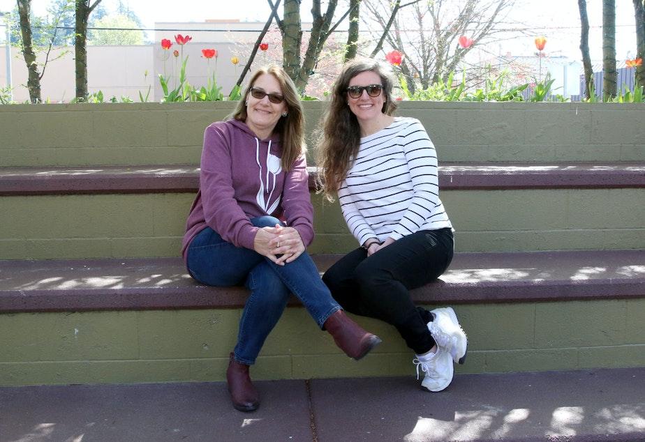caption: Ellen Gamson and Kathleen Petrzelka of the Mount Vernon Downtown Association