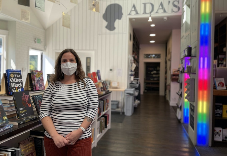 caption: Danielle Hulton at Ada's Technical Books and Cafe