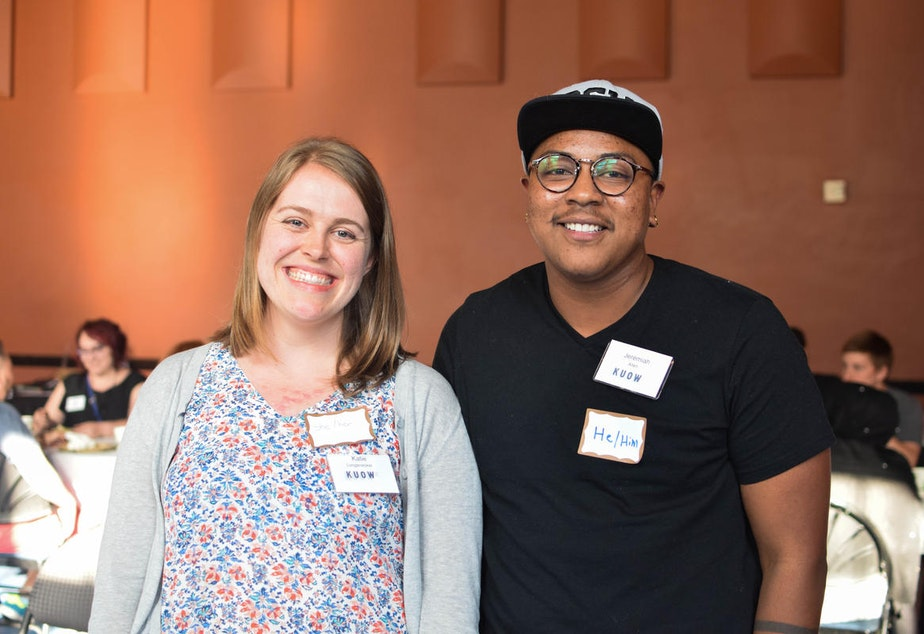 caption: Katie and Jeremiah at KUOW's Ask a Transgender Person event