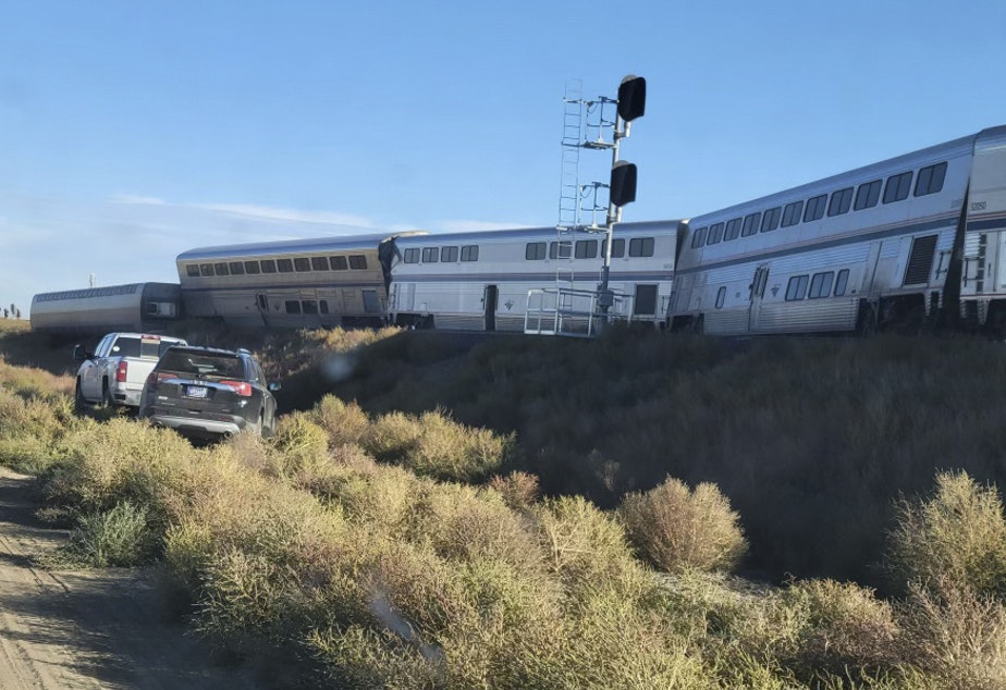 caption: An ambulance is parked at the scene of an Amtrak train derailment on Saturday, in north-central Montana.