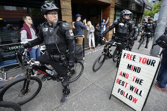 Seattle Police officers during a May Day anti-capitalism march in 2015.