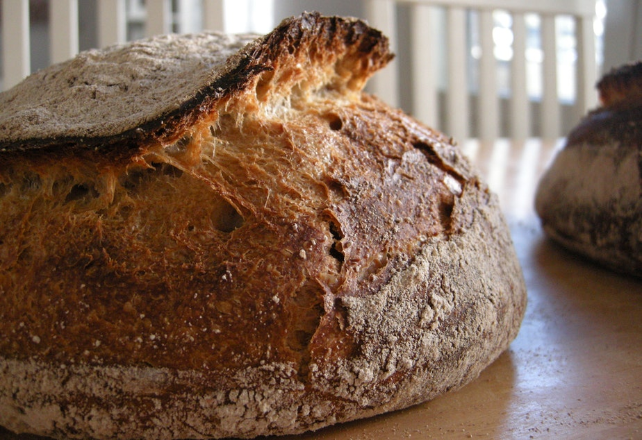 caption: A loaf of country sourdough bread.