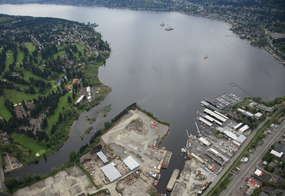 caption: View of the construction site in Kenmore at the north end of Lake Washington, April 29, 2012.