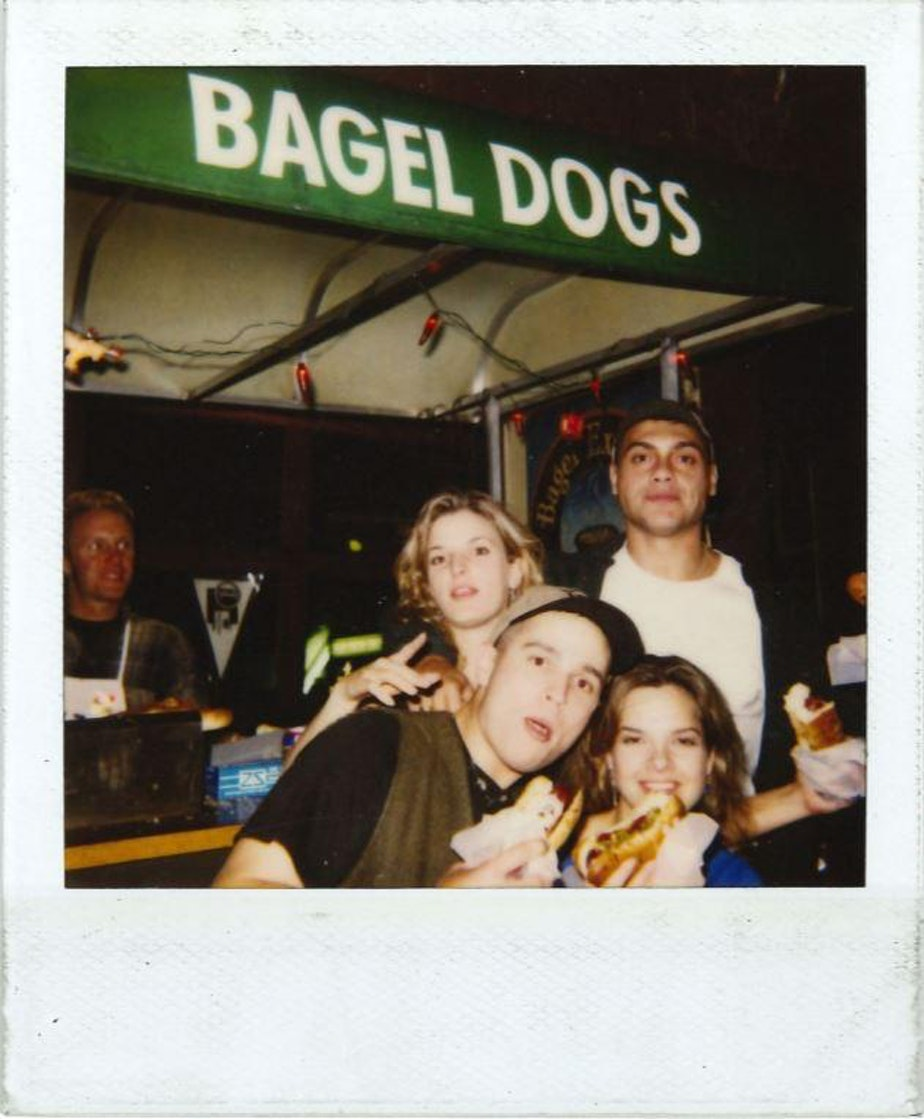 caption: Patrons of Bagel Dogs, where the Seattle dog made its infamous start in the 1980s.
