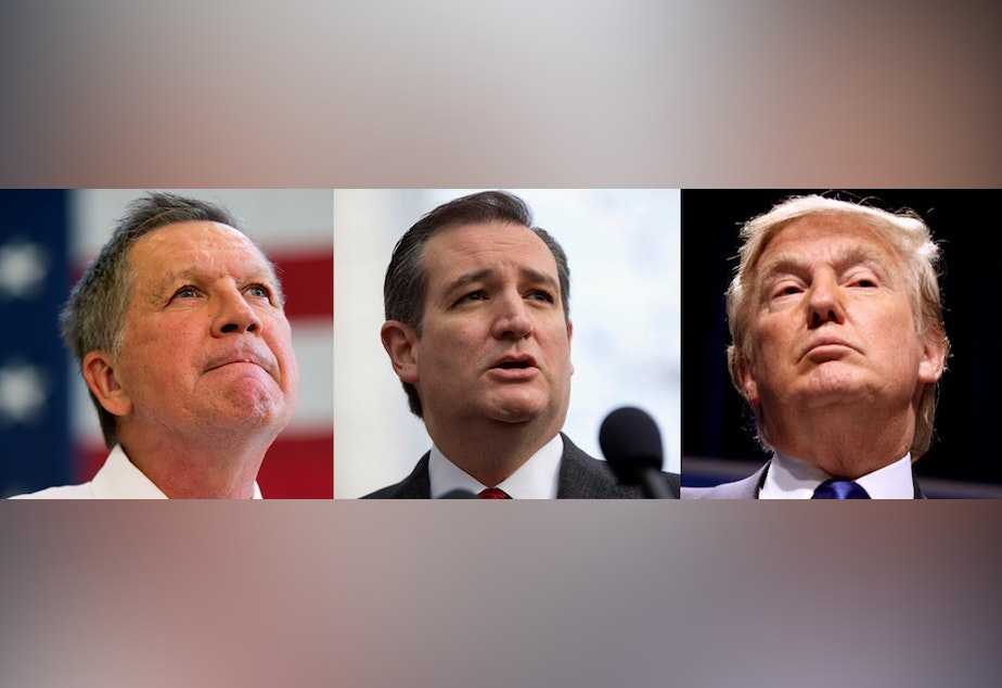 caption: Kasich, Cruz or Trump? Which candidate will win later this month?
