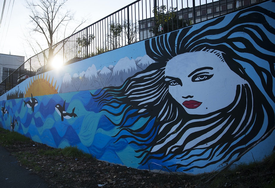 A mural painted by Kendra Azari is shown on Thursday, December 6, 2018, on Lake City Way Northeast in Seattle.