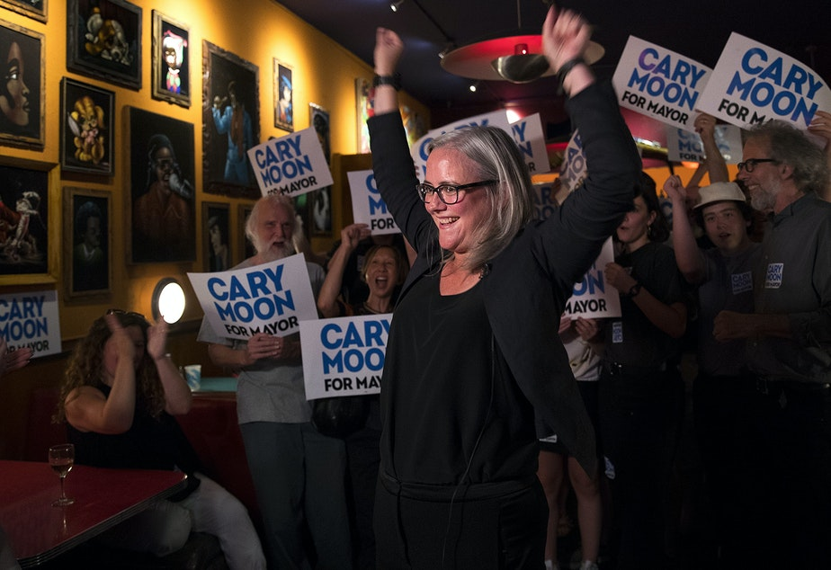 caption: Cary Moon celebrates her number 2 spot for the Seattle mayoral race on primary night. Moon had 15.6 percent of the first batch of returns. Jenny Durkan led the race on Tuesday, with 31.6 percent of initial returns. Click on image for slideshow.