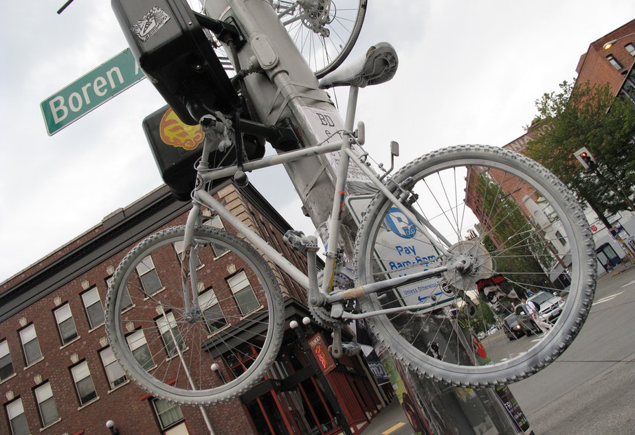 Ghost bikes appear in Seattle in places where riders are hurt by motorists.