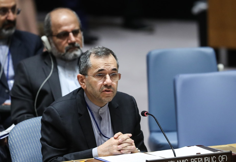 Iran's Ambassador to the United Nations Majid Takht Ravanchi delivers a speech in  June during a U.N. Security Council meeting.