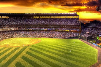Safeco Field at twilight.