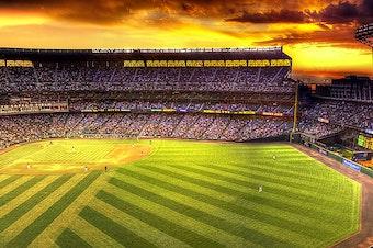 Safeco Field at twilight.