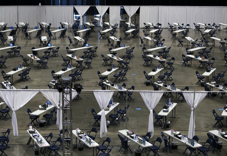 caption: A mass Covid-19 vaccination site set to open on Saturday is shown on Wednesday, March 10, 2021, inside the Lumen Field Events Center in Seattle. The site will be the largest civilian-led vaccination site in the country.