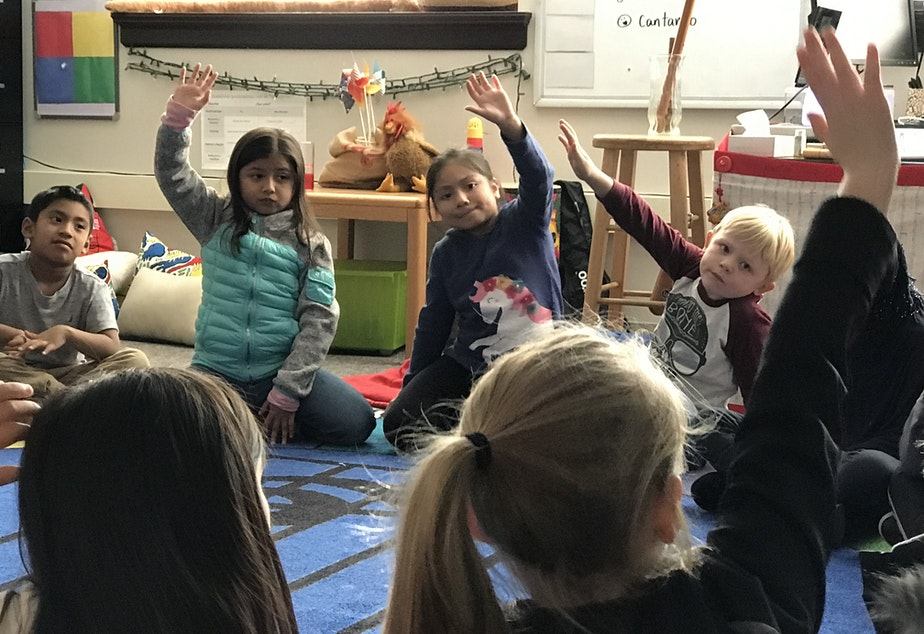 First grade students in Jessica Staire's music class at Concord International School in Seattle's South Park neighborhood