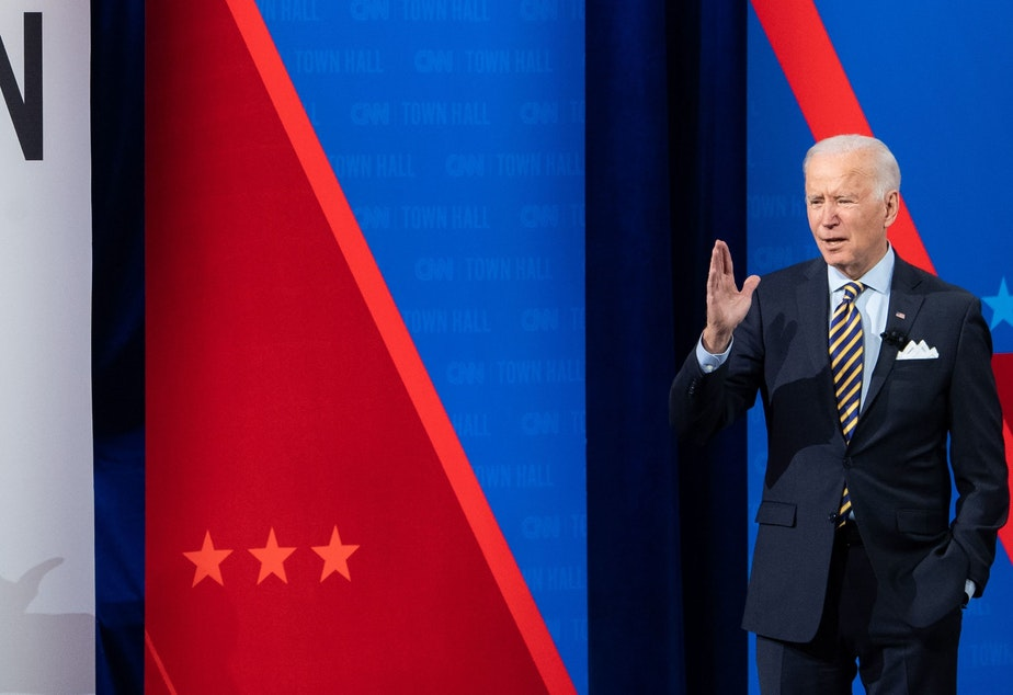 caption: President Joe Biden participates in a CNN town hall at the Pabst Theater in Milwaukee, Wis., Tuesday evening.