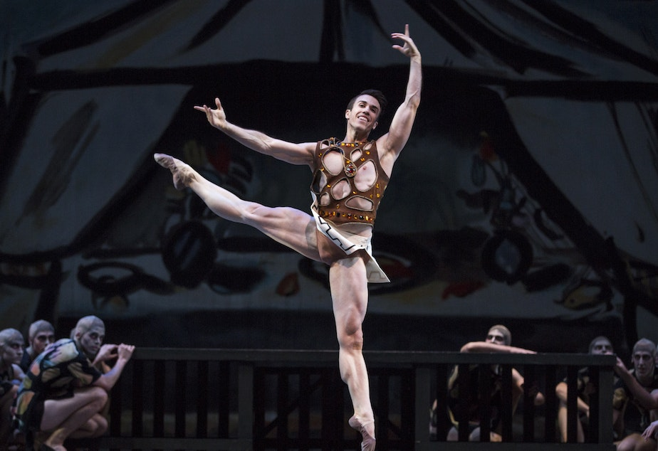 "caption: PNB Principal Dancer Benjamin Griffiths in George Balanchine's ""Prodigal Son"""
