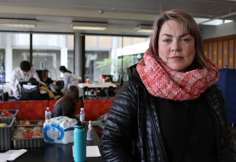 caption: Caroline Hanson Kleban was one of several blood donors who showed up to the University of Washington's Haggett Hall to give blood this week.