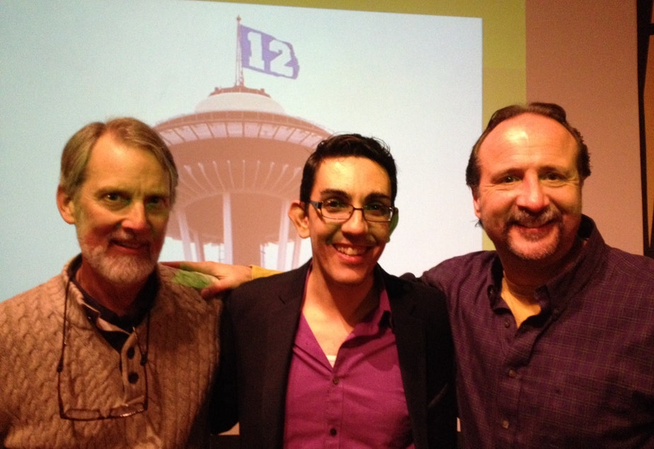 Islamic scholar David Fenner, Zaki Abdelhamid of Humanities Washington and editorial cartoonist Milt Priggee at a Think & Drink discussion concerning the Charlie Hebdo attacks in January.