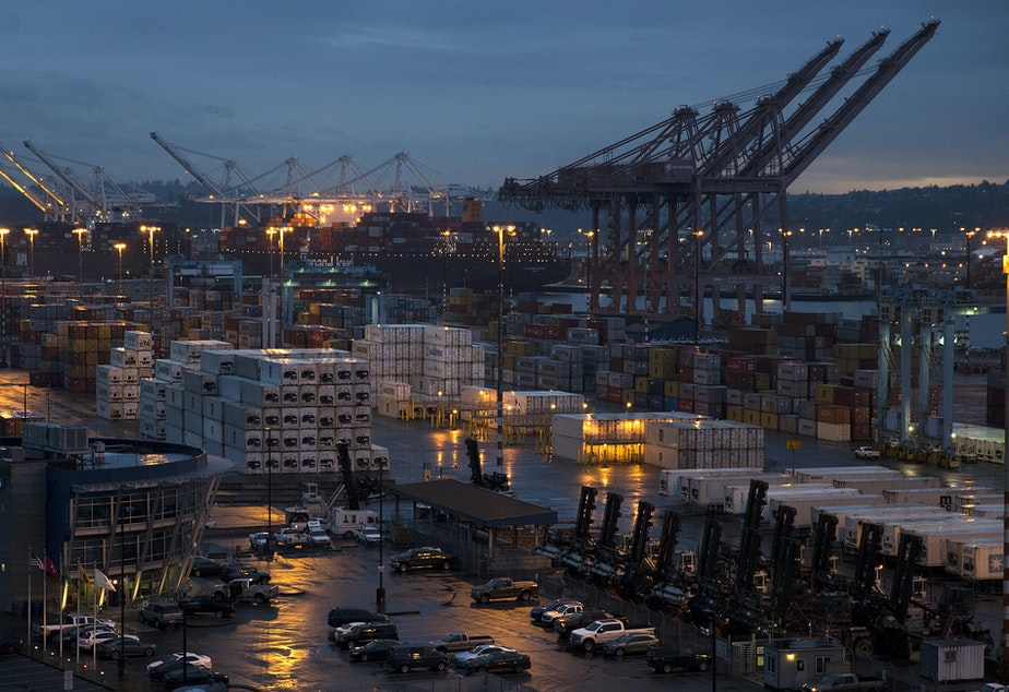 caption: The Port of Seattle is shown on Wednesday, January 9, 2019, in Seattle.