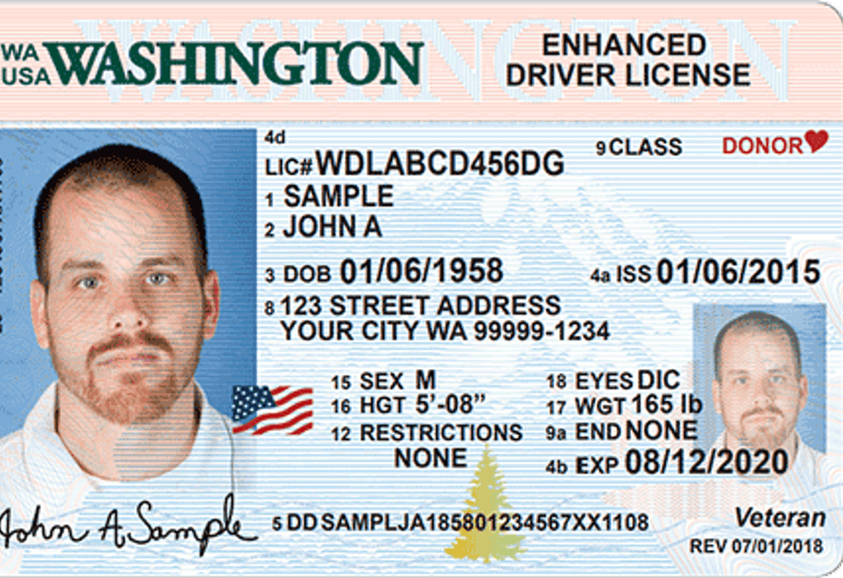 caption: The optional Enhanced Driver License issued by Washington state meets federal Real ID standards.