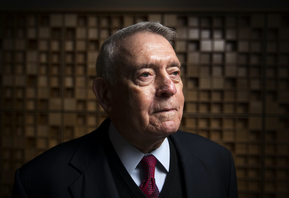 Dan Rather poses for a portrait on Friday, December 8, 2017, in Seattle.