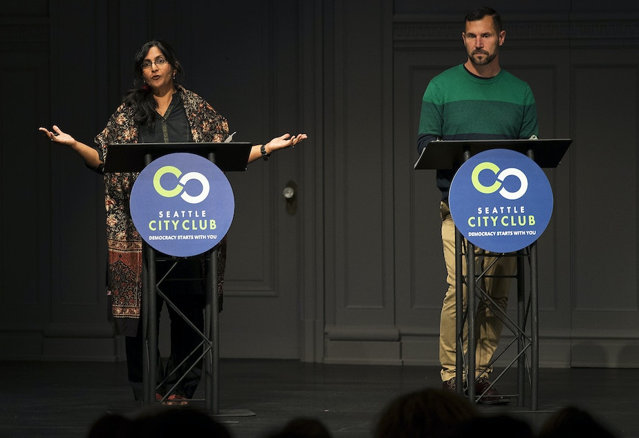 Candidates for Seattle city council in district 3, Kshama Sawant, left, and Egan Orion, right, debate on Thursday, September 26, 2019, at Town Hall Seattle.