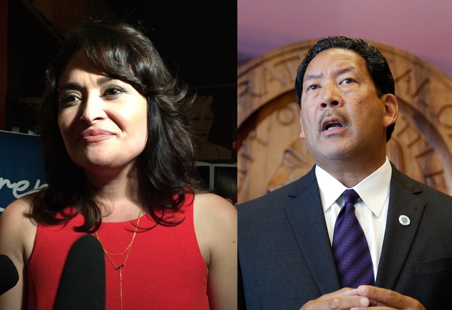 caption: Lorena Gonzalez and Bruce Harrell are the frontrunners in the primary for Seattle mayor on Tuesday, Aug. 3, 2021.