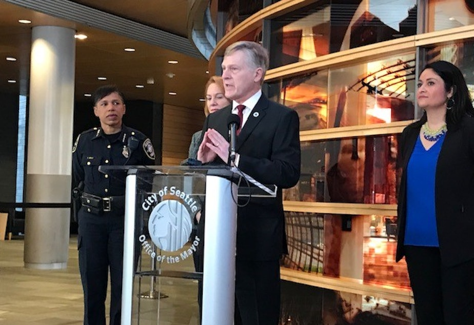 caption: Seattle City Attorney Pete Holmes, along with King County director of public defense Anita Khandelwal, are asking that Seattle Municipal Court's head judge step down.