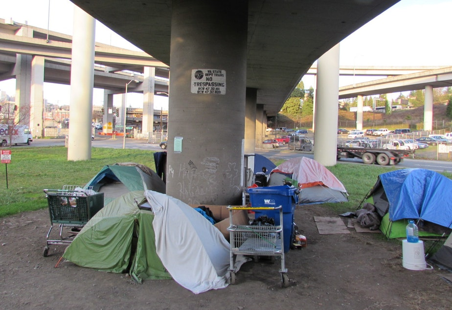 caption: A homeless camp beneath an Interstate 5 off-ramp in Seattle's SODO district.