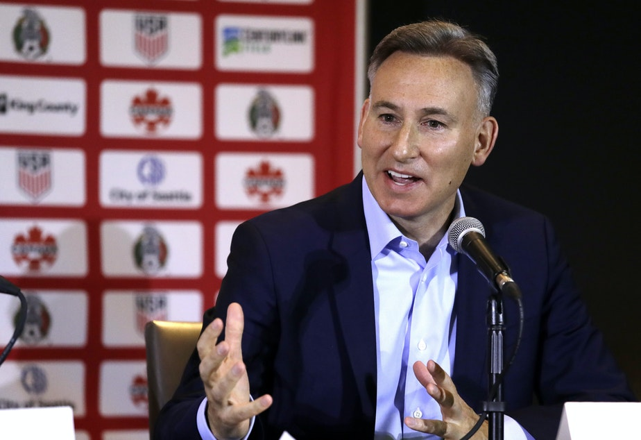 caption: FILE: King County Executive Dow Constantine speaks at a news conference discussing the awarding of the 2026 World Cup soccer tournament to North America, Wednesday, June 13, 2018, in Seattle.