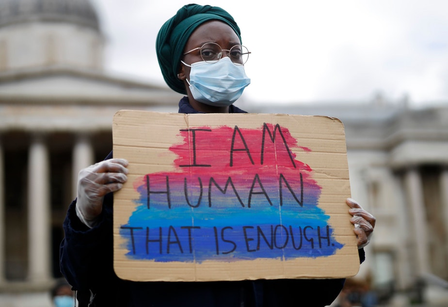 caption: A protester photographed in Trafalgar Square in central London on June 5, 2020.